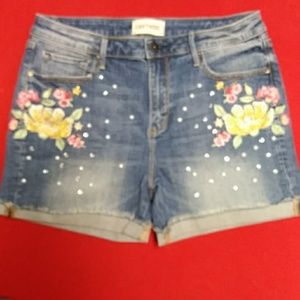 DRIFTWOOD LULU HIGH-RISE EMBOIDERED DENIM SHORTS.